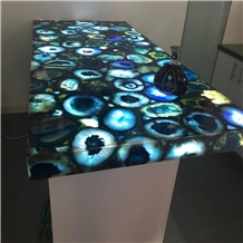 Blue Agate Translucent Onyx Backlit Slabs Tabletop