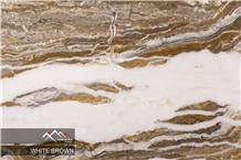 White Brown Tra-Onyx Slab, Tile