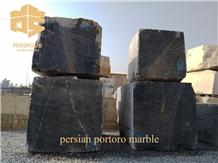 Persian Portoro Marble Block, Iran Black Marble