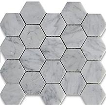 Carrara White Hexagon Marble Mosaic Tile 3