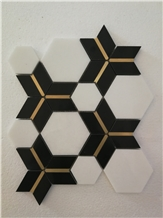 New Design Waterjet Marble Mosaic with Brass
