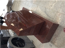 India Red Granite Slant Headstone, Grave Markers