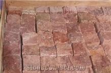 Red Travertine Cube Stone Split Finish