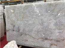 White Jade Slabs with Yellow Ice Crack Vein