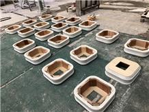 Bianco Rhino White Marble Slabs for Column Base