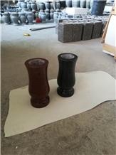Black Granite Vase and Lantern for Tombstone