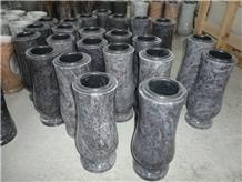 Black Grey Tombstone Flower Vase, Granite Urns