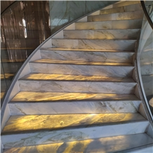 Changbai White Jade Marble Backlit Steps