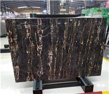 China Fantasy Black Gold Flower Marble Slsb Tile