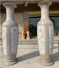 China Granite Tall Vases Big Carving Flower Vase
