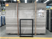 China Grey Wood Grain Marble Slabs for Project
