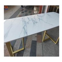 Cyan Flower White Marble Table Tops Customized