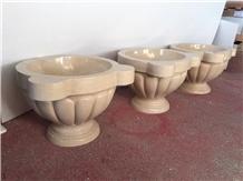 Egypt Beige Marble Flower Sink Natural Stone Sink