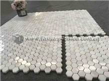 Famous Italy Calacatta White Marble Mosaic Tiles