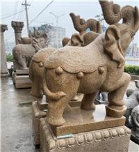 Garden Sculpture Yellow Granite Handcarved Statues