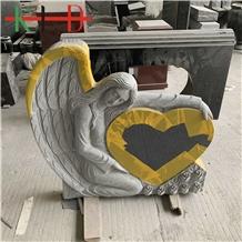 Granite Carved Angel Heart Headstone Monuments