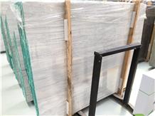 Greek White Wood Marble Polished Tile Slab