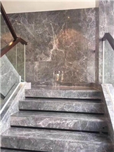 Hermes Grey Marble Steps, Marble Staircase