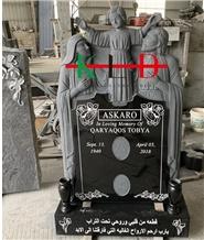 Hot Sale Black Granite Angel Family Monument