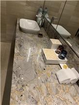 Hot Sell Versace Gold Marble Vanities & Bath Countertop