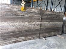 Iran River Silver Travertine Slab Glossy Wall Slab