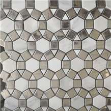 Marble with Glass Stone Composited Marble Mosaic