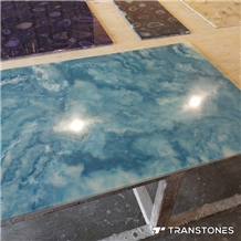 New Blue Polished Faux Onyx Wall Panel Slabs