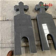 Polished G654 Black Granite Tombstone Headstone
