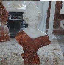 Pure White and Red Marble Woman Head Statue