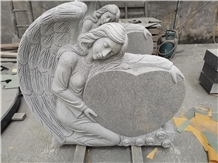 Single Angel Heart Front&Back Design Monument G633