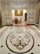 Villas Floor Water Jet Cut Medallions Marble Tiles