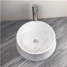 Volakas Marble Sink Natural Stone Round Basin