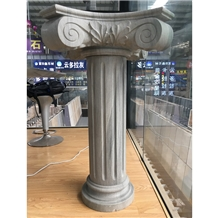 Western Style Gem Grey Marble Carved Column