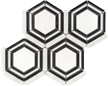 Carrara Leaf Green Grey Hexagon Marble Mosaic Tile