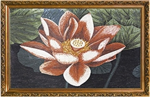 Tea Rosa Marble Mosaic Picture Lotus Flowers on the Wall