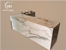 Calacatta Quartz Marble Mitered Edge Kitchen Countertop