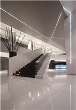 Flooring Of White Nano Crystallized Glass Stone