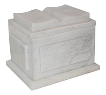 White Marble Natural Stone Bible Cremation Urn