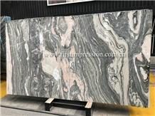 Popular Water Cloudy Grey Golden Vein Marble Slabs
