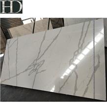 China Bianco Calacatta White Quartz Stone Slab