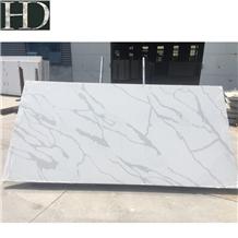 White Calacatta Quartz Slab Artificial Stone