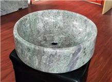 Green Granite Stone Sink Wash Basin Black Veins