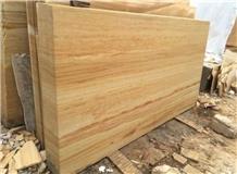 Teak Wood Sandstone Slabs, India Yellow Sandstone Tiles