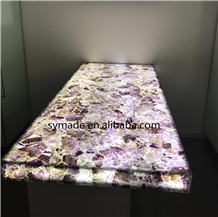 Amethyst Table with Light Stone Table Top