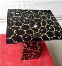 Black Agate Semiprecious Stone Interior Furniture