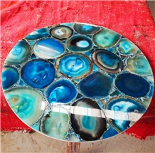 Blue Agate Gem Stone Small Table