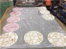 Custom Rose Quartz Crystal Table Top Countertop