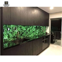Kitchen Wall Decorating with Green Malachite Gem Stone