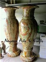 Green Onyx Tall Vases