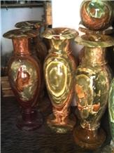 Tall Vases in Dark Green Onyx
